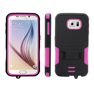 Insten Armor Style Hard PC/ Soft Silicone Dual Layer Hybrid Phone Case Cover with Stand For Samsung Galaxy S6