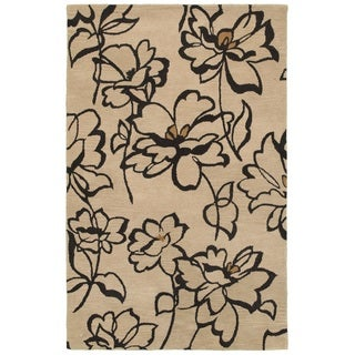 Rizzy Home Volare Collection Hand-tufted Floral Wool Beige/ Black Rug (2' x 3')