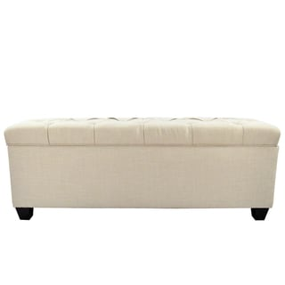 The Sole Secret Beige Diamond Tufted Shoe Storage Bench