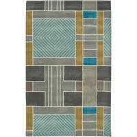 Rizzy Home Volare Collection Hand-tufted Geometric Wool Blue/ Grey Rug (8' x 10')