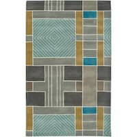Rizzy Home Volare Collection Hand-tufted Geometric Wool Blue/ Grey Rug - 5' x 8'