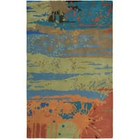 Rizzy Home Volare Collection Hand-tufted Abstract Wool Blue/ Green Rug (3' x 5')
