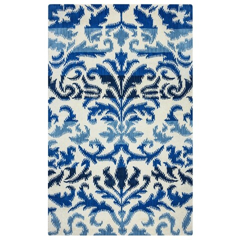 Rizzy Home Volare Collection Hand-tufted Ikat Wool White/ Blue Rug (9' x 12') - 9' x 12'