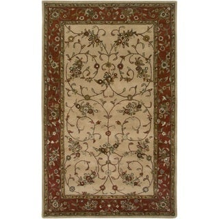 Rizzy Home Volare Collection Hand-tufted Border Wool Beige/ Rust Rug (9' x 12')