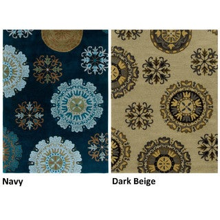 Rizzy Home Volare Collection Hand-tufted Abstract Wool Navy/ Beige Rug (9' x 12')