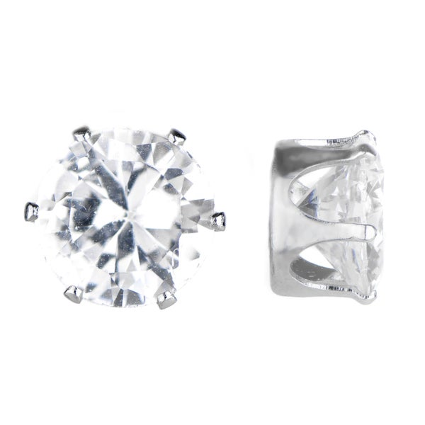 Round Cut CZ Magnetic Stud Earrings