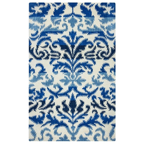 Rizzy Home Volare Collection Hand-tufted Ikat Wool White/ Blue Rug (5' x 8') - 5' x 8'