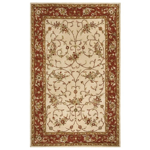 Rizzy Home Volare Collection Hand-tufted Border Wool Beige/ Rust Rug (5' x 8')