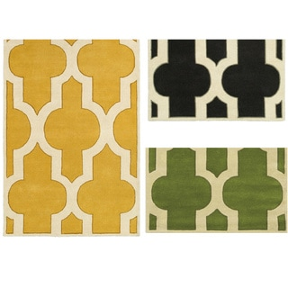 Rizzy Home Volare Collection Hand-tufted Ikat Wool Grey/ Green/ Gold Rug (8' x 10') - 8' x 10'