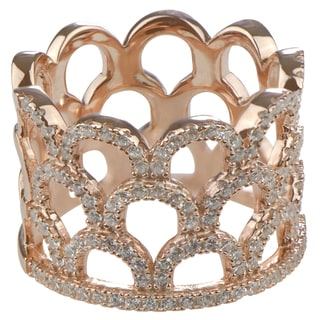 Sterling Silver Cubic Zirconia Crown Fancy Band Ring
