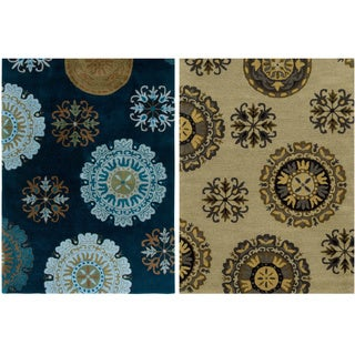 Rizzy Home Volare Collection Hand-tufted Abstract Wool Navy/ Beige Rug (8' x 10')