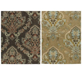 Rizzy Home Volare Collection Hand Tufted Trellis Wool Brown Rug (8u0027 X 10