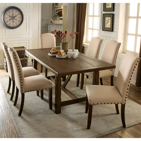 Furniture Of America Felicity 7 Piece Rustic Walnut Dining Set
