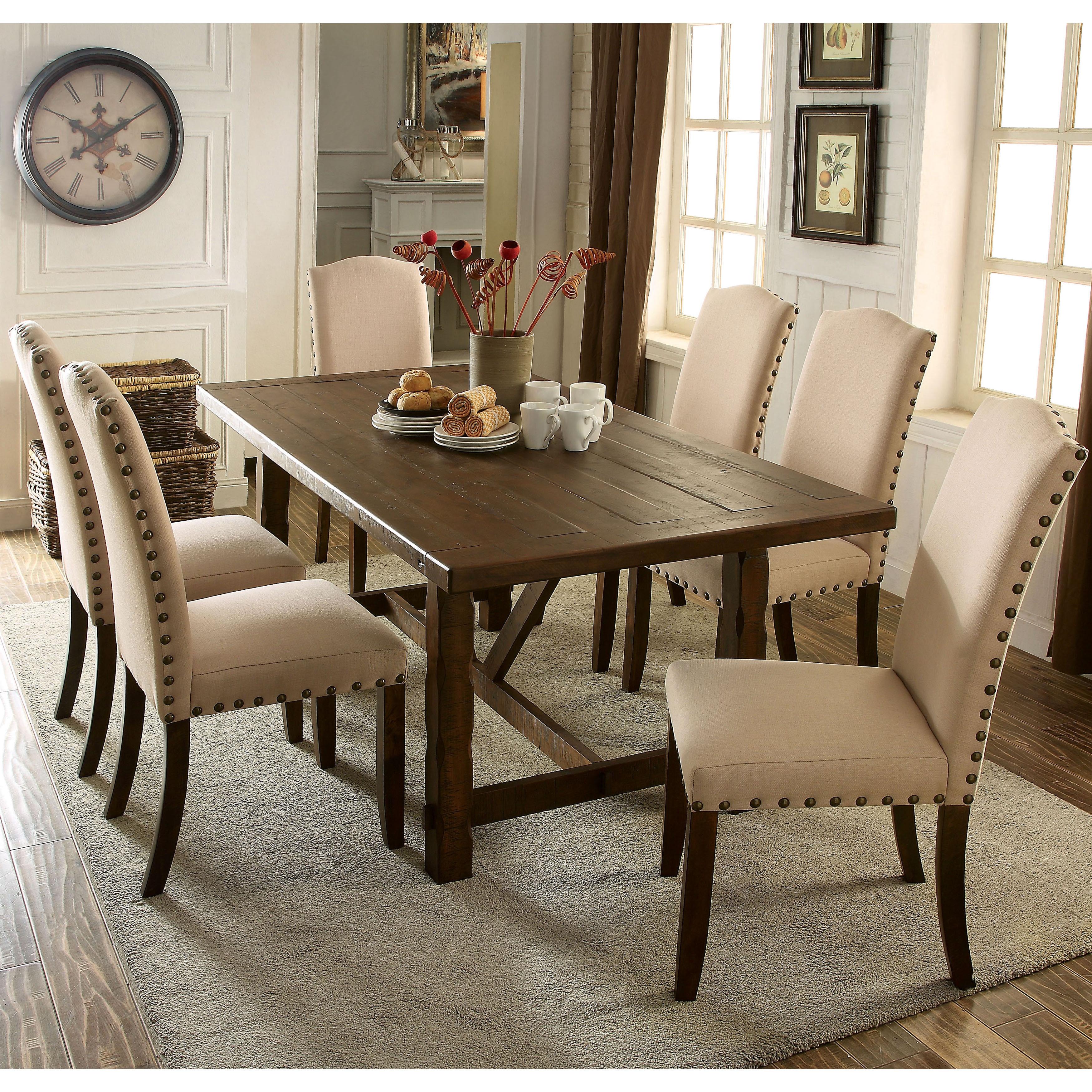 Furniture of America Felicity 7-piece Rustic Walnut Dinin...