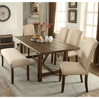 Furniture Of America Felicity 6 Piece Rustic Walnut Dining Set