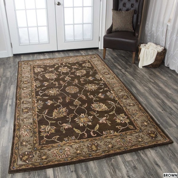 Rizzy Home Volare Collection Hand-tufted Geometric Wool Rust/ Brown Rug (8' x 10')