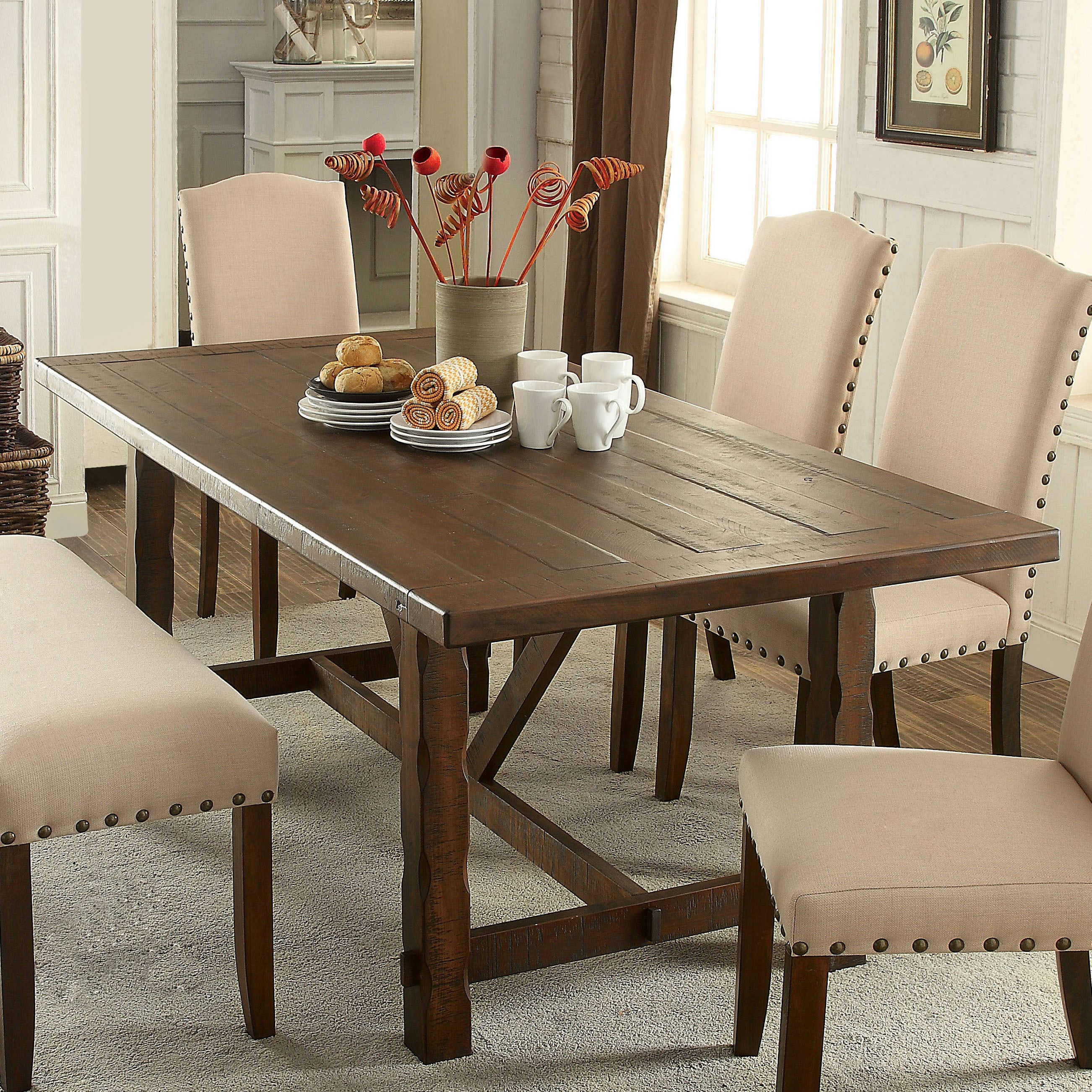 Furniture Of America Felicity Transitional Walnut 74 Inch Dining Table Overstock 10362313