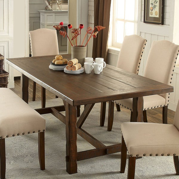 furniture of america felicity rustic walnut 74 inch dining table