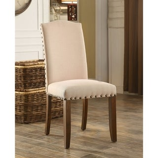 Furniture of America Felicity Rustic Walnut Upholstered Side Chair (Set of 2)