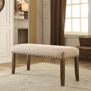 Furniture of America Serg Rustic Ivory Flax Fabric Padded Bench