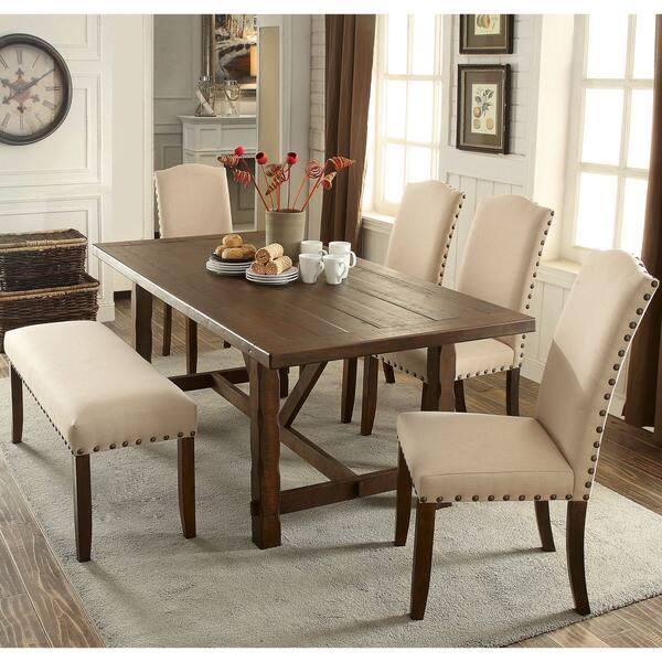 Furniture Of America Serg Rustic Ivory Flax Fabric