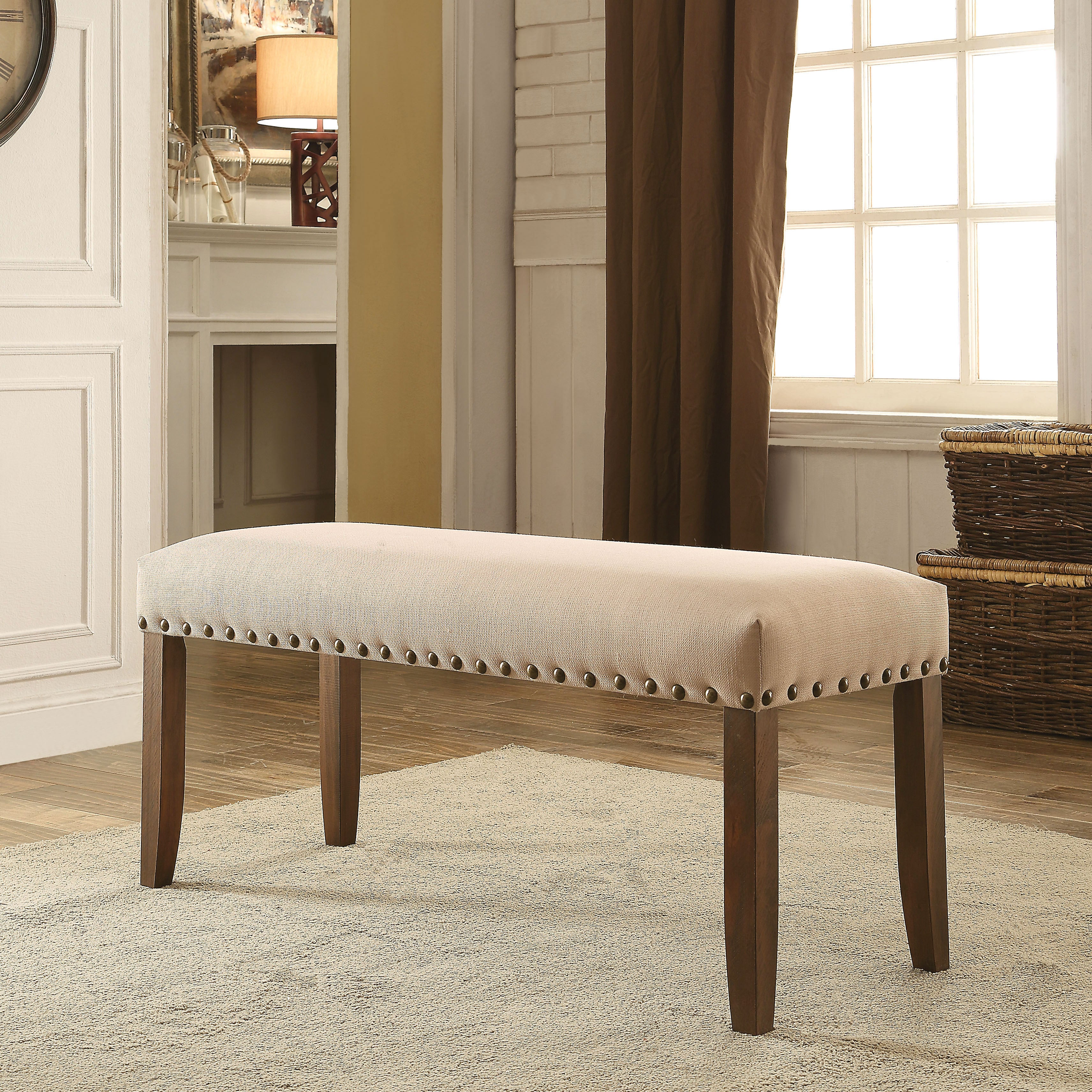 Furniture of America Felicity Ivory Flax Upholstered Dini...