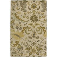 Rizzy Home Volare Collection Hand-tufted Floral Wool Beige/ Gold Rug (8' x 10')