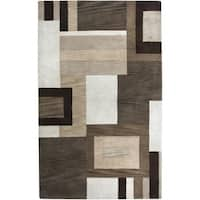 Rizzy Home Volare Collection Hand-tufted Geometric Wool Brown/ Beige Rug (8' x 10')