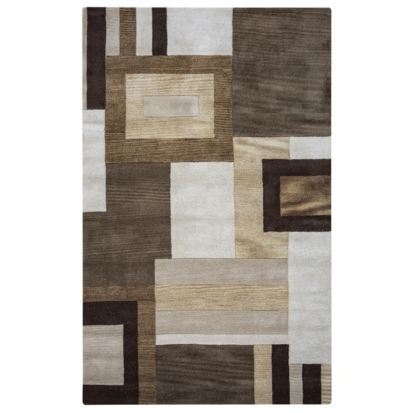 Rizzy Home Volare Collection Hand-tufted Geometric Wool Brown/ Beige Rug (5' x 8')