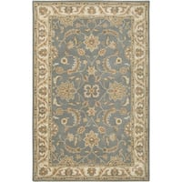Rizzy Home Volare Collection Hand-tufted Border Wool Grey/ Brown Rug (9' x 12')
