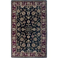 Rizzy Home Volare Collection Hand-tufted Border Wool Black/ Burgundy Rug - 5' x 8'