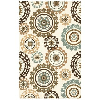 Rizzy Home Volare Collection Hand-tufted Geometric Wool Off-White/ Tan Rug (9' x 12')