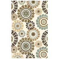 Rizzy Home Volare Collection Hand-tufted Geometric Wool Off-White/ Tan Rug (8' x 10')