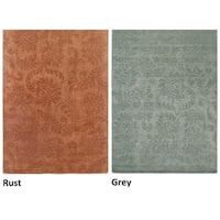 Rizzy Home Uptown Collection Handmade Solid Wool Grey/ Rust Rug - 10' x 14'