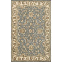 Rizzy Home Volare Collection Hand-tufted Border Wool Grey/ Brown Rug (5' x 8')