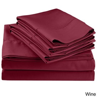 Superior 600 Thread Count Cotton Rich 6-piece Hem Stitch Solid Sheet Set with Pillowcases