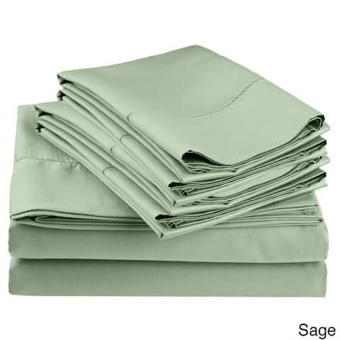 Superior 600 Thread Count Hemsitch 6 Piece Cotton Blend Deep Pocket Bed Sheet Set