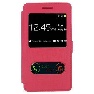 Insten Slim Leather Folio Flip Fabric Phone Case Cover with Half-window For LG Optimus F60