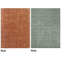 Rizzy Home Uptown Collection Handmade Solid Wool Grey/ Rust Rug (8' x 10') - 8' x 10'