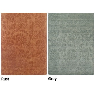 Rizzy Home Uptown Collection Handmade Solid Wool Grey/ Rust Rug (5'6 x 8'6)