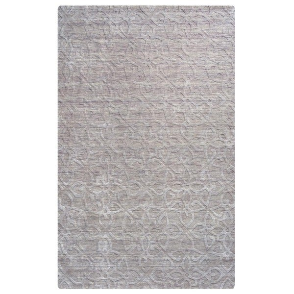 "Rizzy Home Uptown Collection Hand-crafted Solid Wool Grey Rug - 5'6"" x 8'6"""