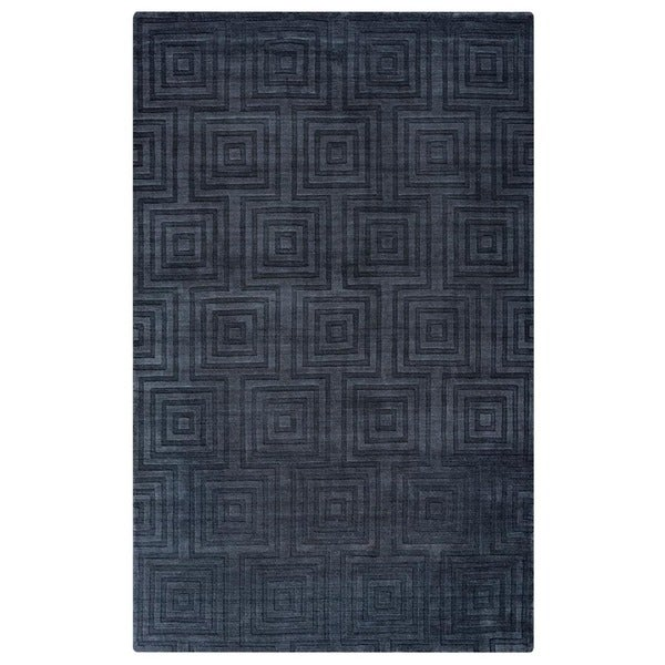 Rizzy Home Uptown Collection Handmade Solid Wool Grey Rug (5'6 x 8'6)