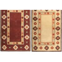 Rizzy Home Southwest Collection Hand-crafted Geometric Wool Beige/ Red Rug - 8' x 10'