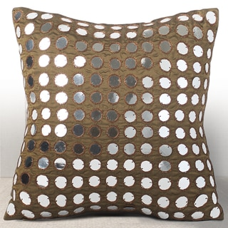 Chauran Empire Espresso Silk Luxury Feather and Down-filled 10-inch Pillow with Hand-applied Mirror Sequins