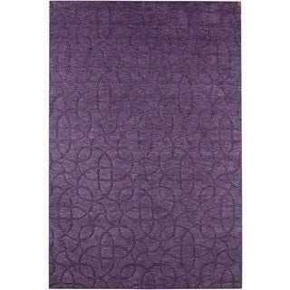 Rizzy Home Uptown Collection Handmade Solid Wool Purple Rug (5'6 x 8'6)