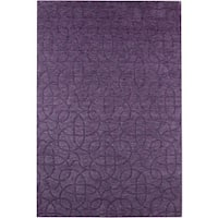 Rizzy Home Uptown Collection Handmade Solid Wool Purple Rug (5'6 x 8'6) - 5'6 x 8'6