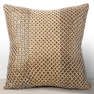 Chauran Vivante Cognac Sequined Feather and Down-filled 16-inch Pillow with Hand-stiched Embroidery