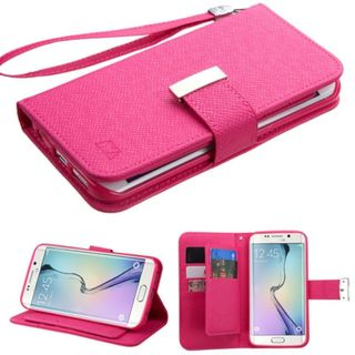 Insten Slim Leather Wallet Flap Pouch Phone Case Cover with Stand/ Lanyard For Samsung Galaxy S6 Edge