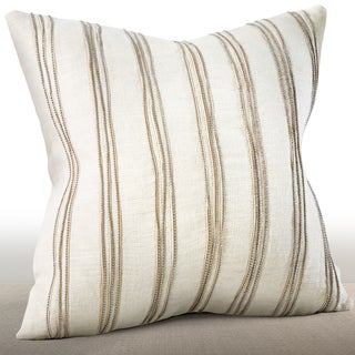 Chauran Cirque Ivory Linen 16-inch Pillow Feather and Down-filled with Hand-applied Beaded Leather Cord