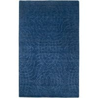 Rizzy Home Uptown Collection Handmade Solid Wool Blue Rug (9' x 12') - 9' x 12'